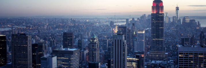 New york vista dal alto del l'Elicottero